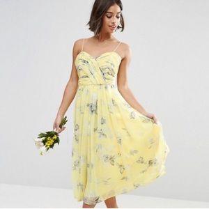 ASOS Spaghetti-Strap Floral Yellow Dress